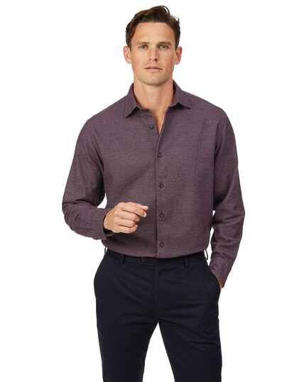 Classic fit berry semi winter flannel plain shirt