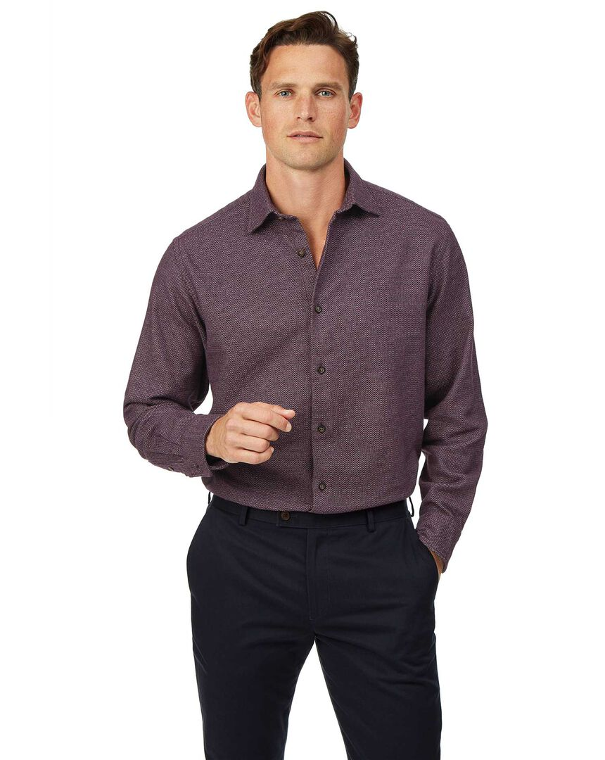 Classic fit winter flannel berry shirt