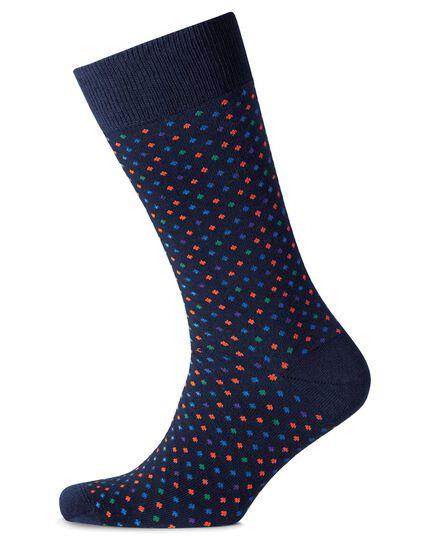 Chaussettes bleu marine à pois multicolores