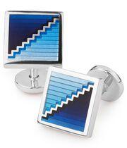 Emaille-Manschettenknöpfe mit quadratischem Stufen-Design in Blau