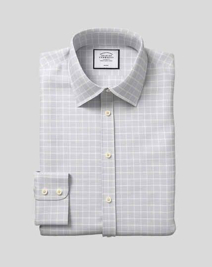 Classic Collar Non-Iron Check Shirt - Silver