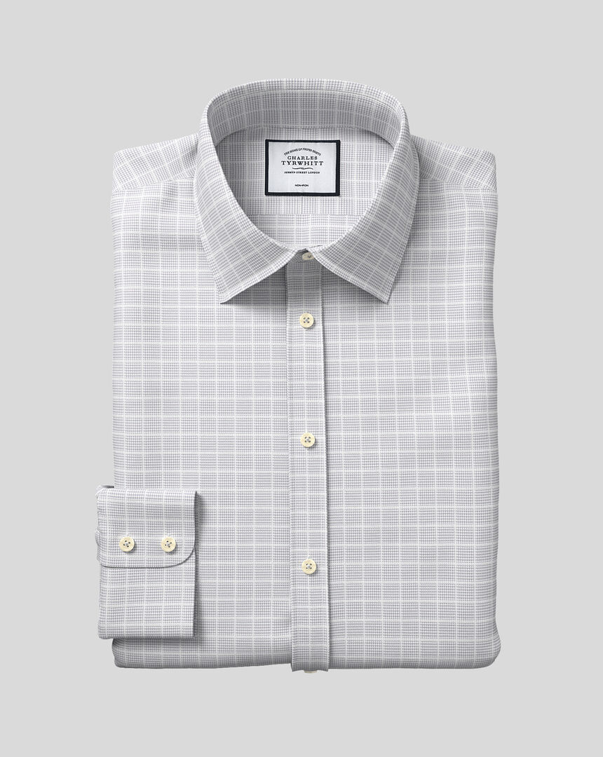 Bügelfreies Hemd mit Kent-Kragen und Karos - Silber