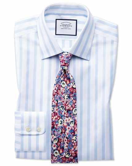 Classic fit Egyptian cotton royal Oxford sky blue stripe shirt