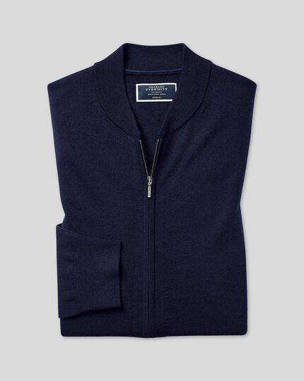 Merino Zip Through Bomber Jacket - Navy
