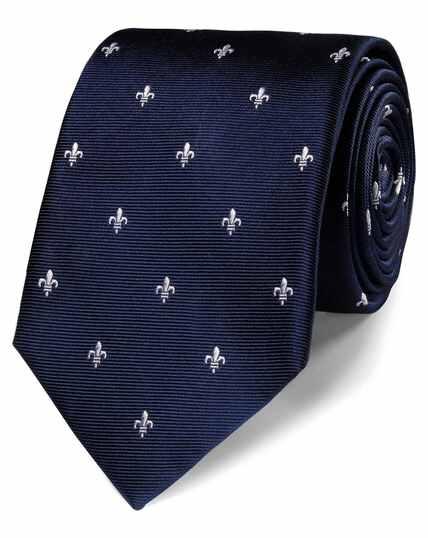 Cravate classique bleu marine et blanche en tissu anti-taches à fleurs de lys