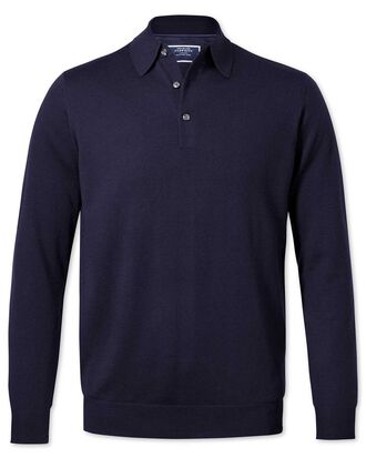 Navy polo collar merino jumper