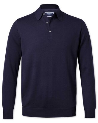 Navy polo collar merino sweater