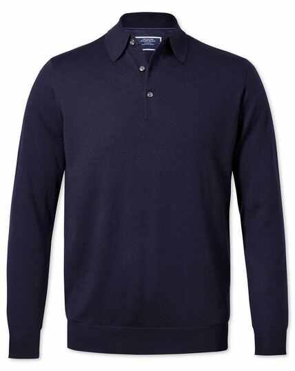 Pull bleu marine en laine mérinos à col polo