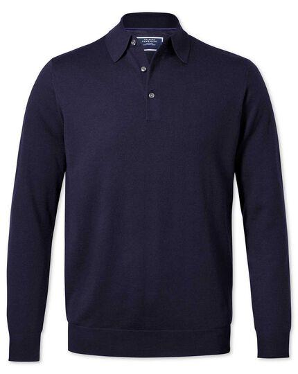 Navy polo collar merino sweater