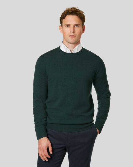 Merino Crew Neck Jumper - Forest Green