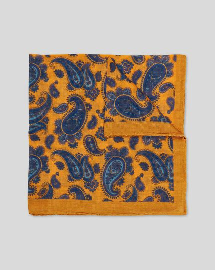 Paisley Luxury Pocket Square - Gold & Blue