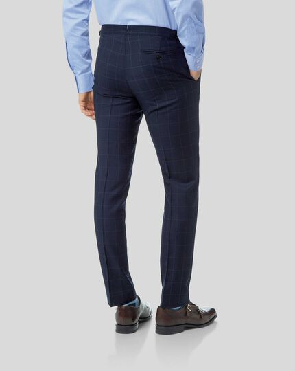 British Luxury Check Suit Pants - Navy