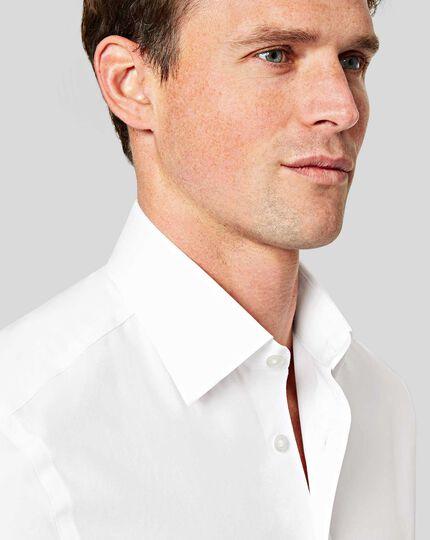 Classic Collar Non-Iron Tyrwhitt Cool Poplin Short Sleeve Shirt - White