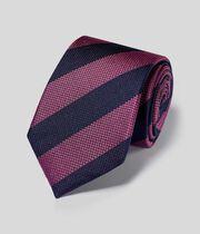 Klassische Krawatte aus Seide mit Blockstreifen - Marineblau & Rosa