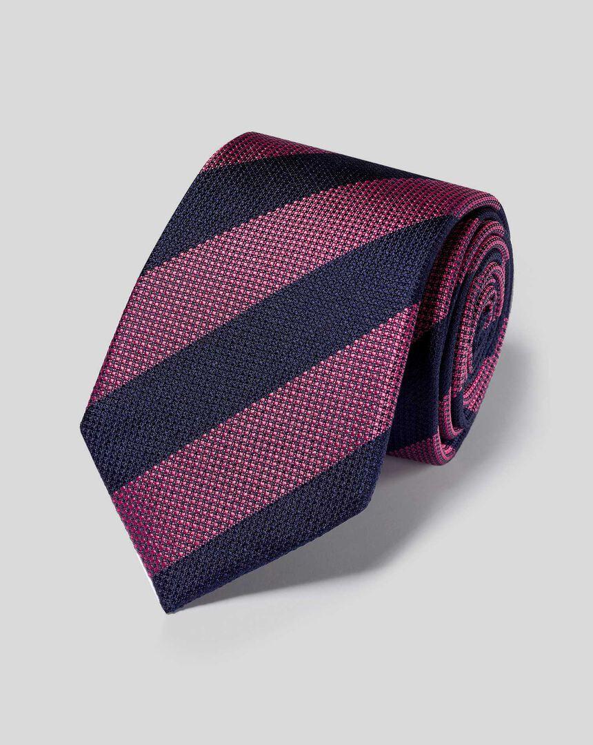 Krawatte aus Seide mit Blockstreifen - Marineblau & Rosa