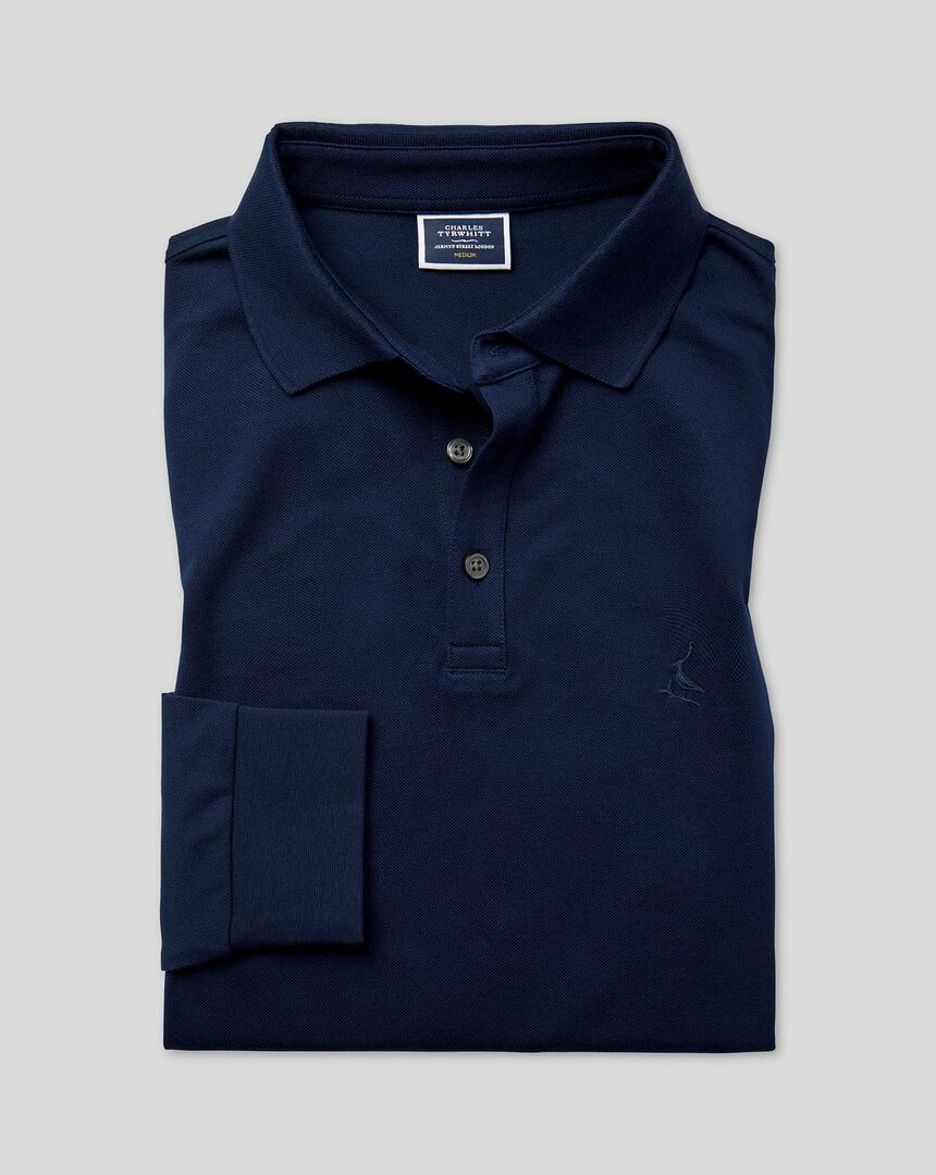 Tyrwhitt Long Sleeve Pique Polo - Navy