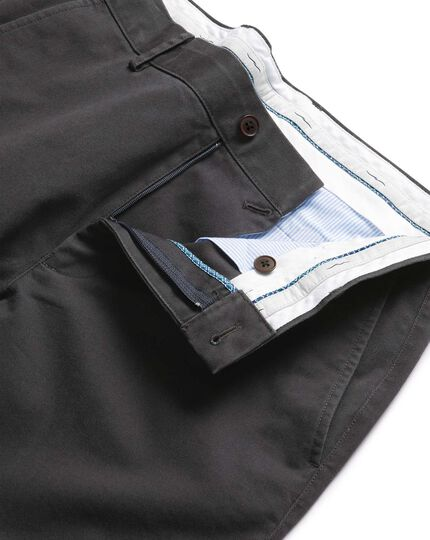 Charcoal flat front soft washed chinos