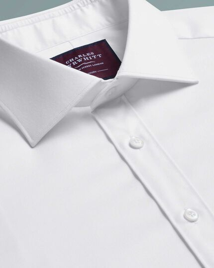 Classic fit white luxury twill shirt