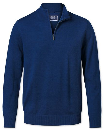 Royal blue zip neck merino sweater
