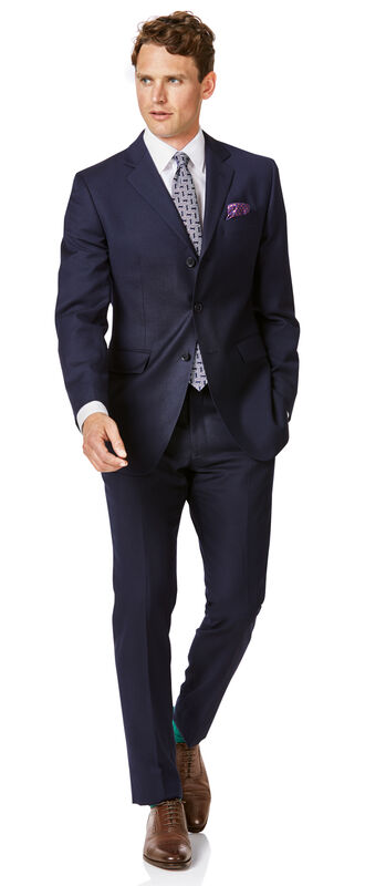 Navy slim fit twill single breasted 3-button business suit