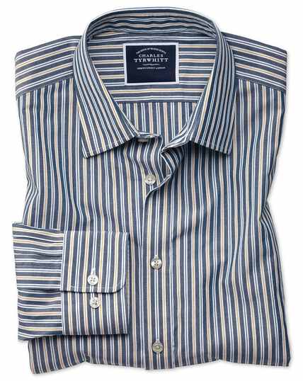Classic fit navy multi stripe soft washed shirt