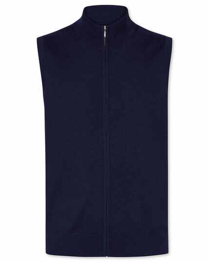 Navy merino zip through vest