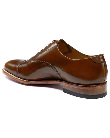 Tan highshine Goodyear welted Oxford toe cap shoe