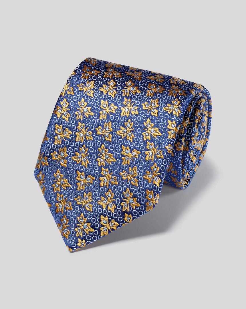 Englische Luxuskrawatte aus Seide mit Blumenmuster - Gold