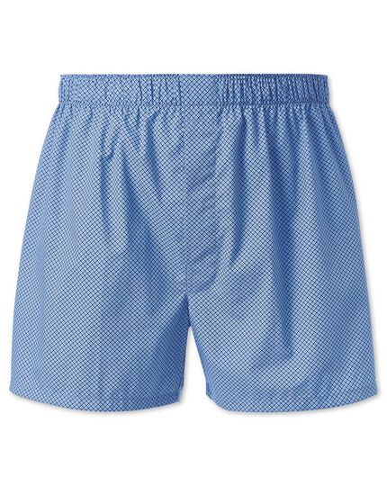 Sky blue and navy printed woven boxers