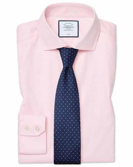 Chemise à col cutaway en coton stretch rose extra slim fit sans repassage