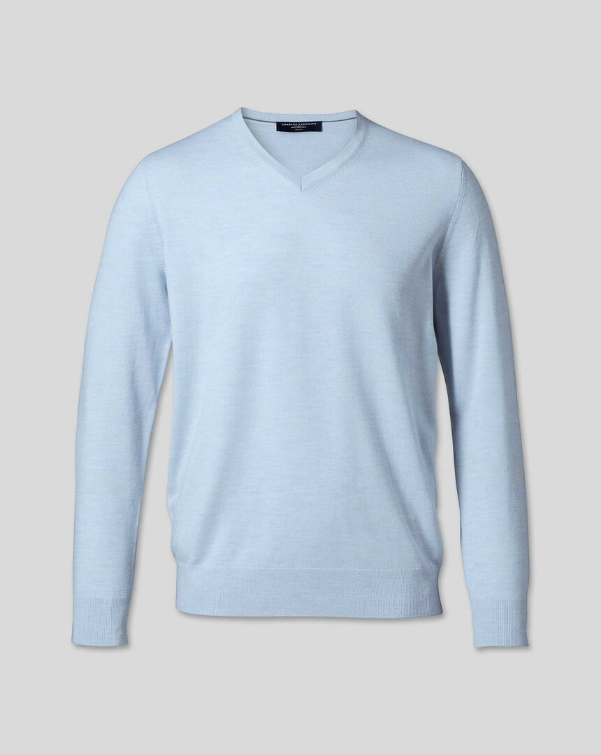 Merino V-Neck Sweater - Sky