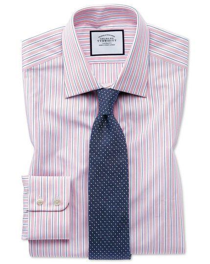 Slim fit Egyptian cotton poplin pink stripe shirt