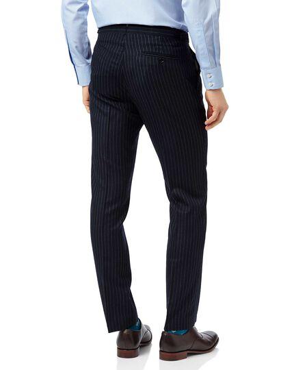 Britische Slim Fit Luxus-Anzughose mit Streifen in Marineblau