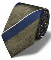 Klassische Krawatte aus strukturiertem Seidengewebe mit Streifen in Olivgrün & Bunt