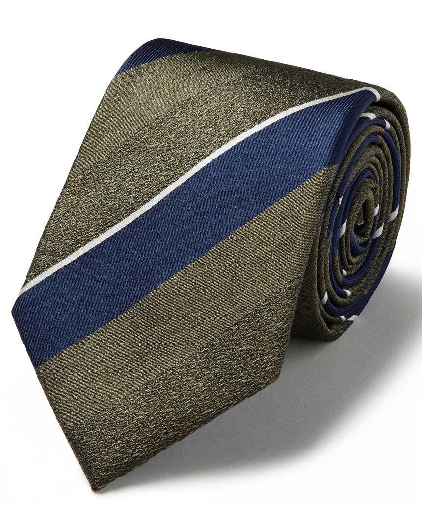 Olive silk multi melange stripe classic tie