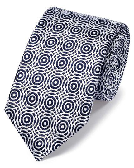 Klassische Krawatte aus Seide mit Kreismuster in Marineblau und Weiß