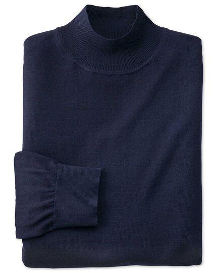 Navy mock turtleneck merino sweater