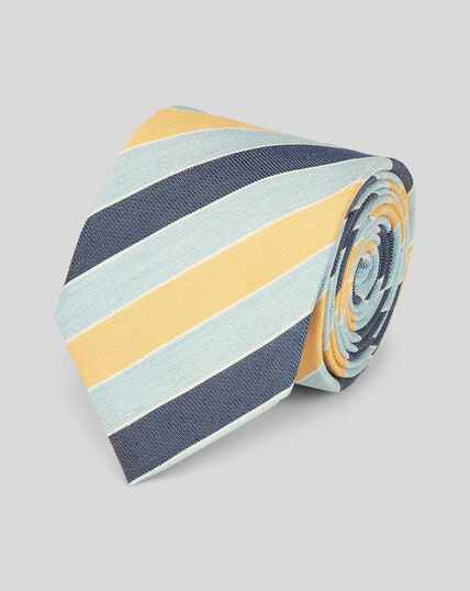 Linen Silk Summer Stripe Classic Tie - Yellow & Sky