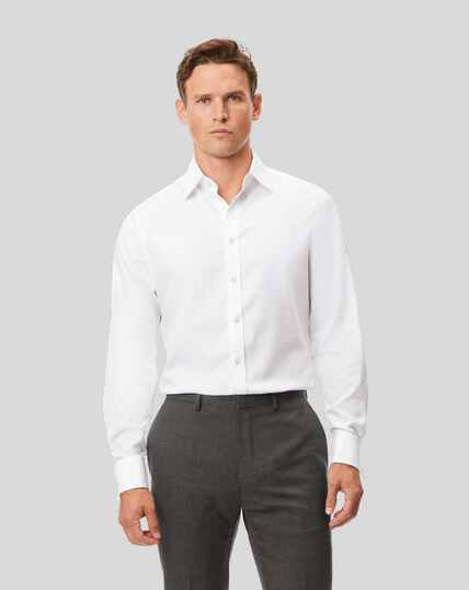 Spread Collar Non-Iron Cotton Stretch Shirt - White