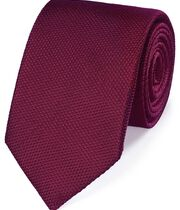 Berry silk plain classic tie