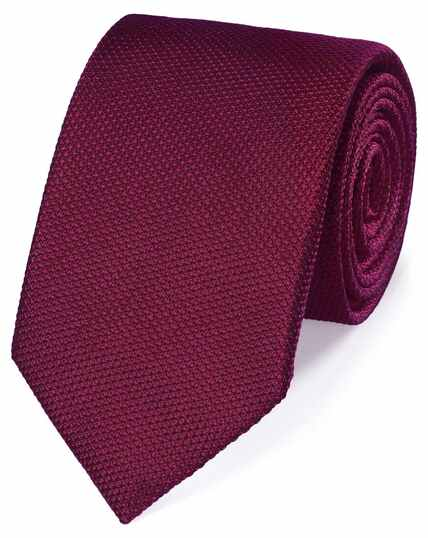 Berry silk plain classic tie