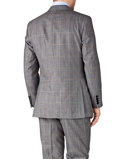 Grey check slim fit British Panama luxury suit jacket