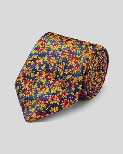 Cravate de luxe en soie anglaise à fleurs - Or