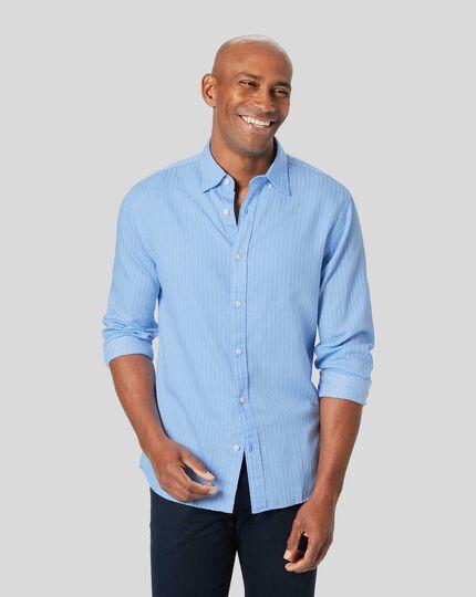 Bouclé-Hemd mit feinen Streifen und Button-down-Kragen- Himmelblau & Weiß