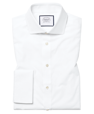 Slim fit white Egyptian cotton poplin cutaway collar shirt