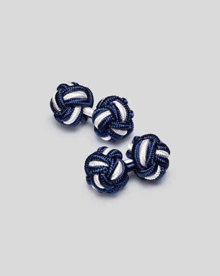 Knot Cufflink - Navy & White