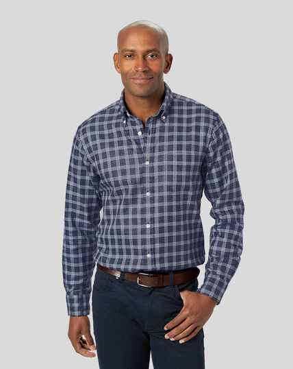 Button-Down Collar Non-Iron Twill Check Shirt - Navy & White