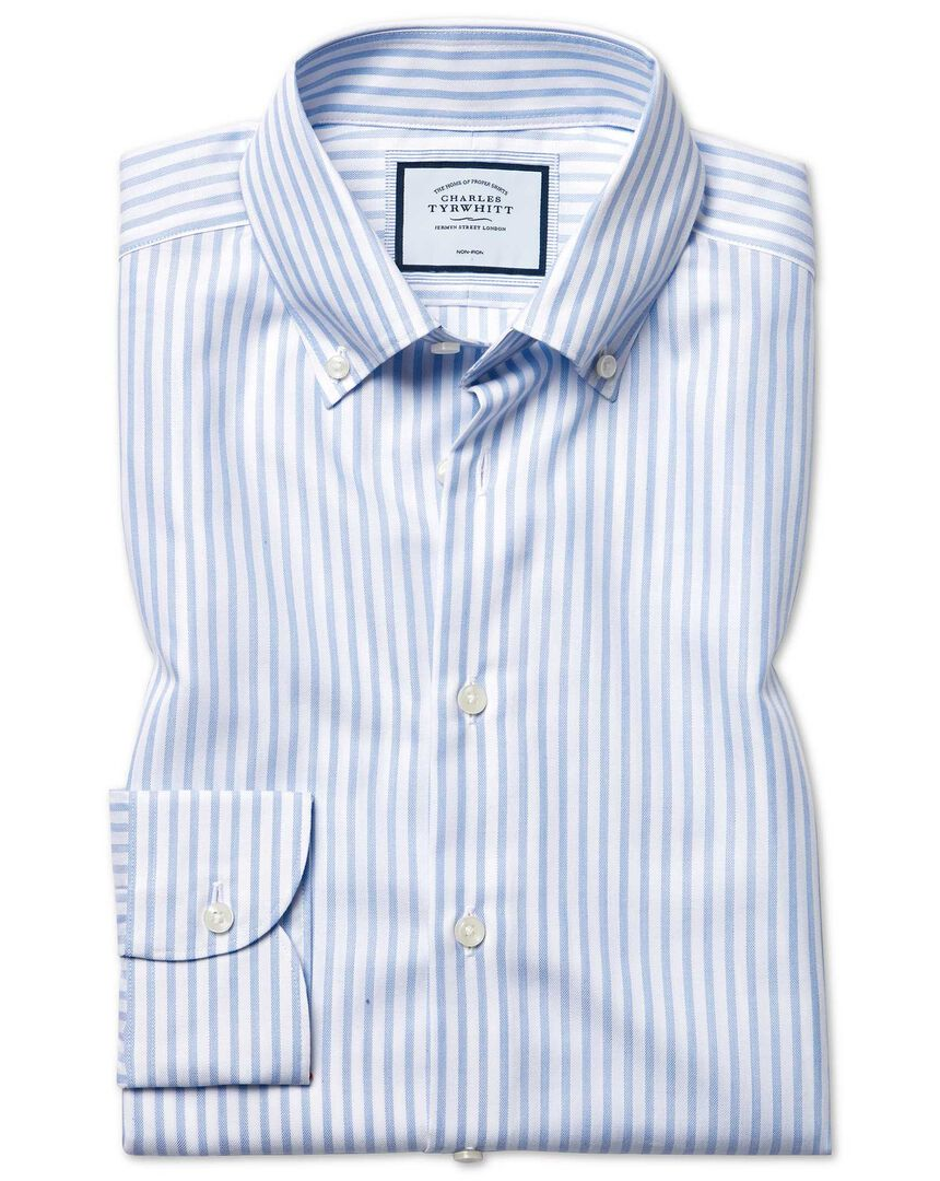 Slim fit business casual non-iron with TENCEL™ sky blue stripe shirt