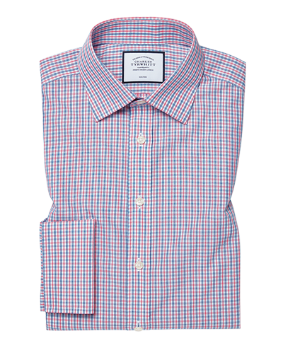 Extra slim fit cutaway non-iron poplin blue and red shirt