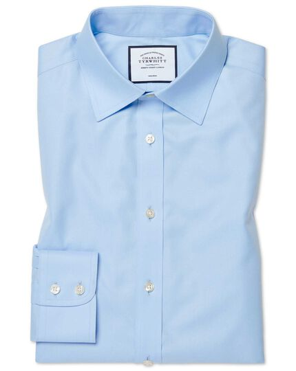 Extra slim fit sky blue non-iron twill shirt